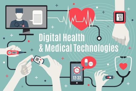 Flaches Plakat der Digital-Medizintechnik mit Berufsdoktorunterstützung und tragbaren Geräten der Selbstpflege vector Illustration Standard-Bild - 93947559