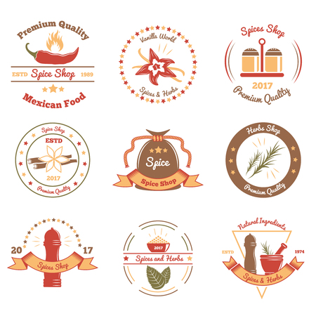 Set of colored emblems for shops of spices and herbs with rosemary, pepper, vanilla isolated vector illustration
