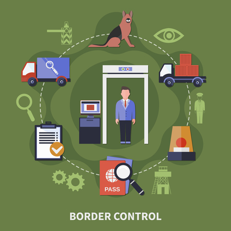 Border guard control point concept illustration on green background.