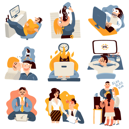 Office work funny moments flat icons collection with coworkers gossiping meditating sleeping on keyboard isolated vector illustration