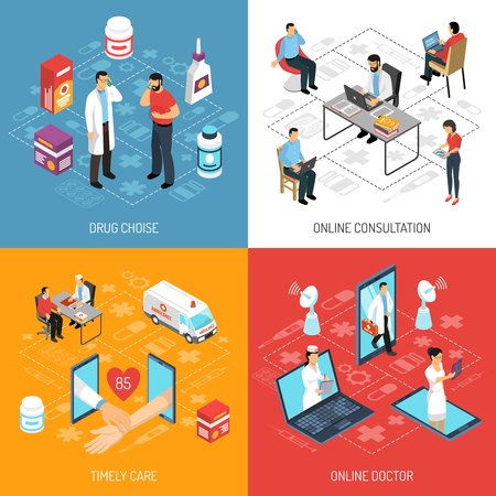 Illustrazione quadrata di vettore di composizione quadrata delle icone isometriche di concetto 4 di scelta rapida medica e di scelta di consultazione di medico virtuale Vettoriali