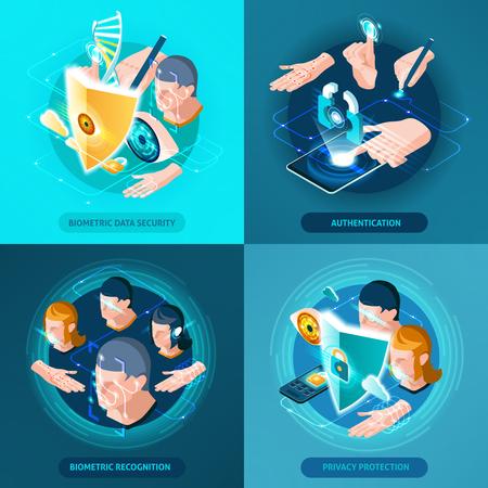 Biometrische erkenning authenticatie gegevensbeveiliging en privacy bescherming concept 4 isometrische pictogrammen vierkante samenstelling geïsoleerd vectorillustratie Stock Illustratie