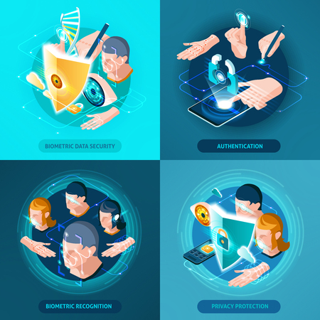 Biometric recognition authentication data security and privacy protection concept 4 isometric icons square composition isolated vector illustration