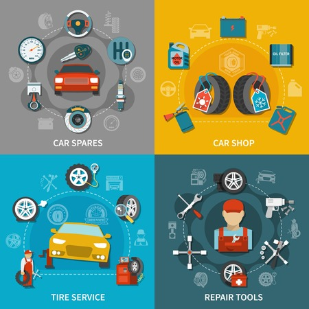 Flat design tire service equipment car spares and shop items 2x2 set on colorful background isolated vector illustration Illustration