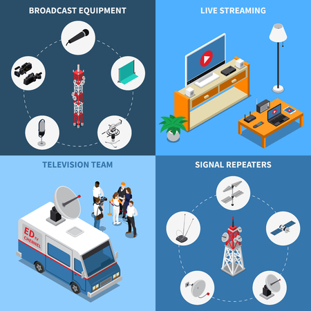 Colorful isometric 2x2 telecommunication icons set with various broadcast equipment television team and electronic devices 3d isolated vector illustration Illustration