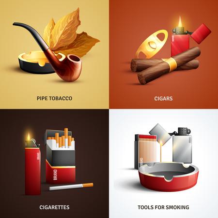 Het ontwerpconcept van tabaksproducten met sigaren, sigaretten, houten pijp en asbak, hulpmiddelen om geïsoleerde vectorillustratie te roken Stock Illustratie