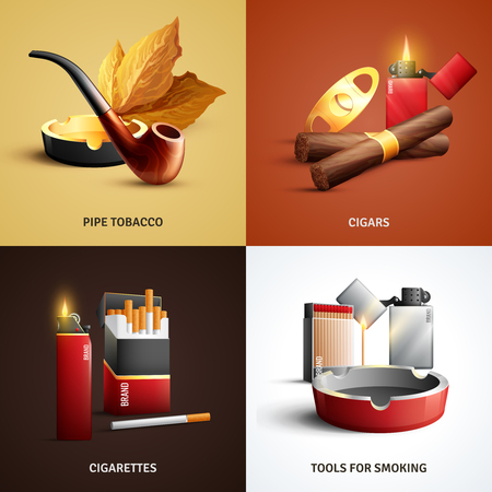 Tobacco products design concept with cigars, cigarettes, wood pipe and ashtray, tools for smoking isolated vector illustration Illustration
