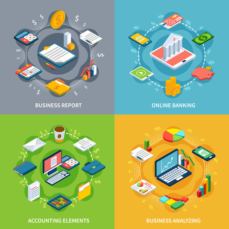 Accounting isometric design concept with round compositions of isometric icons graphs with money images and symbols vector illustration Vettoriali