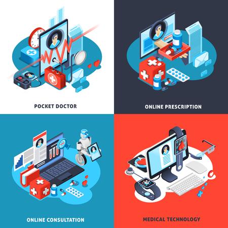 ポケットドクター、オンライン相談と処方箋、医療技術分離ベクトルイラストとデジタル健康アイソメトリックコンセプト