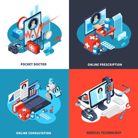 Digital health isometric concept with pocket doctor, online consultation and prescription, medical technologies isolated vector illustration
