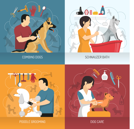 Grooming service design concept with view of hairdresser combing and bathing dogs of different breed with icons vector illustration.
