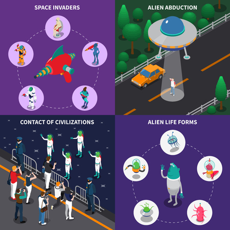 Various alien characters coming in to contact with people 2x2 colorful isometric icons set 3d isolated vector illustration.