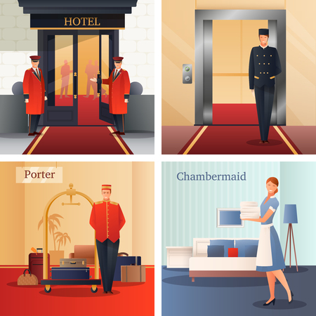 Hotel staff flat gradient design concept with doormen, elevator operator, porter with baggage, maid isolated vector illustration.