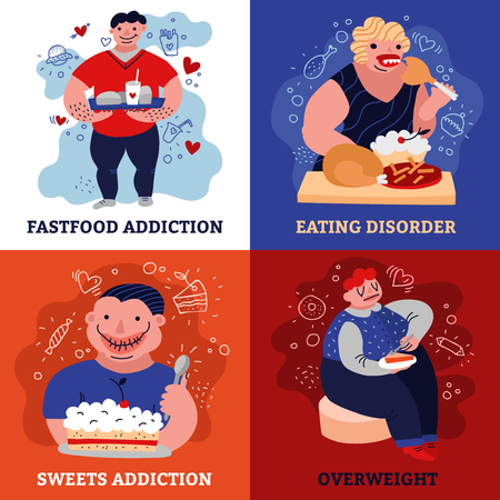 Addiction concept icons set with eating disorder symbols flat isolated vector illustration.