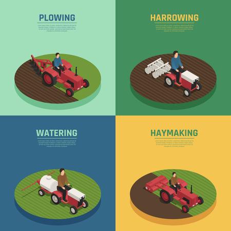 農業用機械4アイソメ農業アイコン広場と悲惨な耕作と散水装置分離ベクトルイラスト。  イラスト・ベクター素材