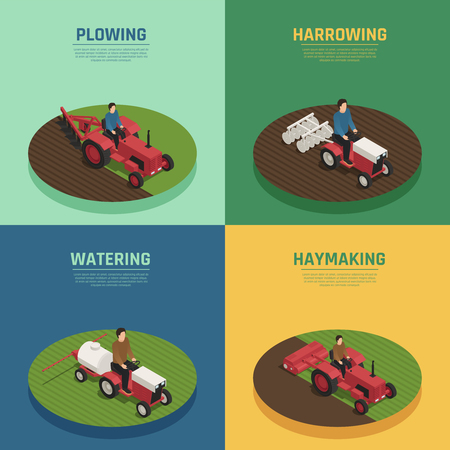 Agricultural farm machinery 4 isometric agricultural icons square with harrowing plowing and watering equipment isolated vector illustration.
