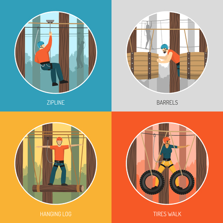 Ropes course outdoor adventure concept 4 flat icons with zip line tour and tires walking vector illustration. Illustration