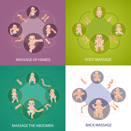 Baby massage concept icons set with foot and back massage symbols flat isolated vector illustration.
