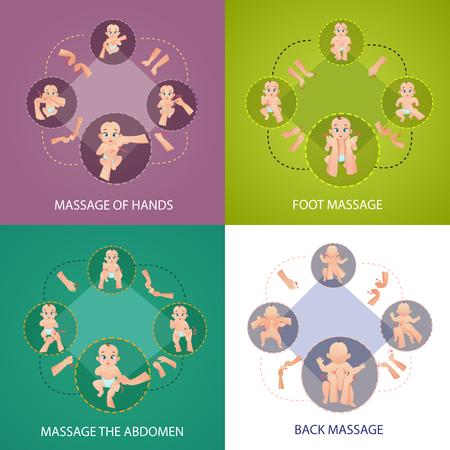 Die Babymassagekonzeptikonen, die mit Fuß- und Rückenmassagesymbolebene eingestellt wurden, lokalisierten Vektorillustration. Standard-Bild - 94048376
