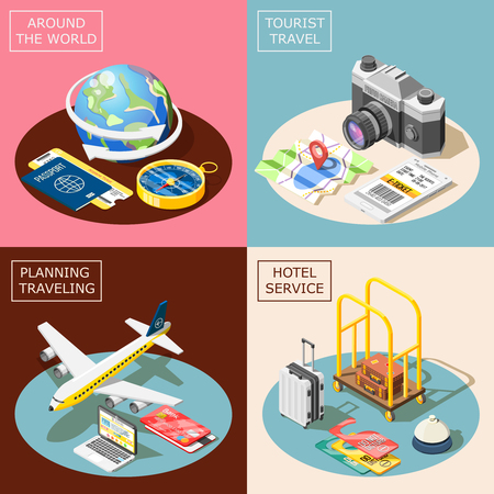 Travel 2x2 design concept with planning traveling hotel service world tour and tourism square icons isometric vector illustration.