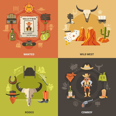 Cowboy design concept with wild west, wanted bandit, rodeo elements isolated on color background vector illustration.