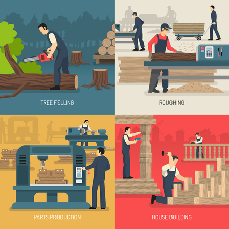 Woodworking design concept with flat images of wood workers during different stages of wooden parts production vector illustration.