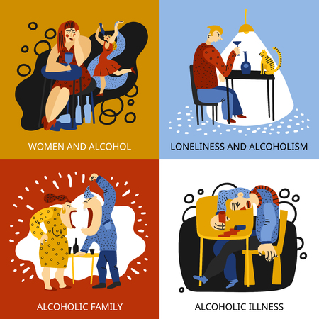 Alcohol addiction concept icons set with family symbols flat isolated vector illustration.