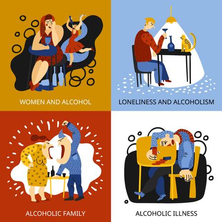 Le icone di concetto di dipendenza dell'alcool messe con l'illustrazione di vettore isolata piano di simboli della famiglia. Vettoriali