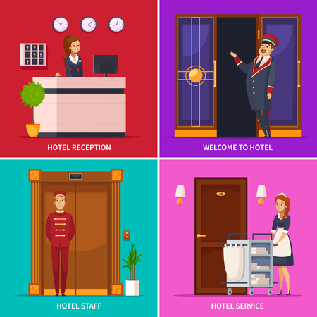 Hotel service 2x2 design concept set of square icons with doorman receptionist chambermaid bellboy cartoon characters vector illustration. Reklamní fotografie - 94048388