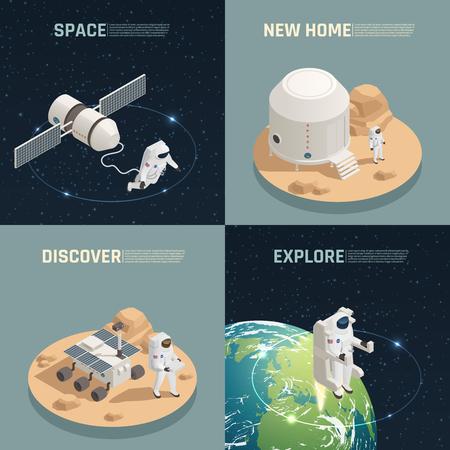 宇宙研究探査は、エイリアン惑星に着陸する宇宙飛行士と4つのアイソメアイコンの正方形を発見します。