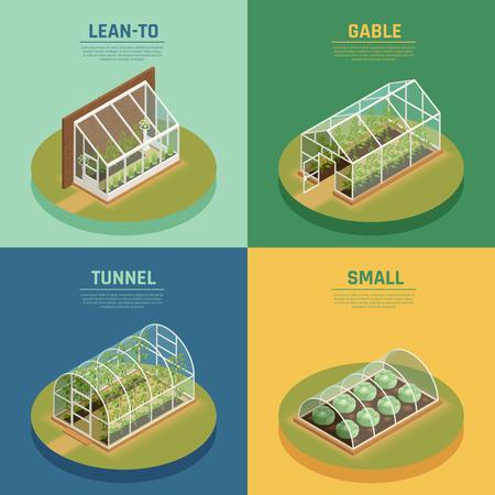 温室コンサバトリー品種4アイソメアイコン正方形ガラスハウスケーブルをサポート緑のアーチホットハウス孤立ベクトルイラスト。  イラスト・ベクター素材