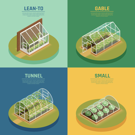 Greenhouses conservatory varieties 4 isometric icons square with glasshouse cable supported greenery arch hothouse isolated vector illustration.