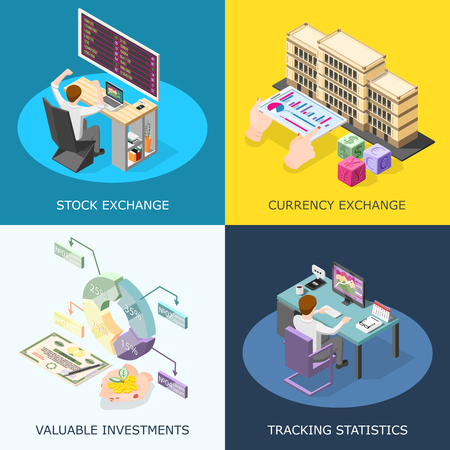 Stock exchange 2x2 design concept with tracking statistics valuable investment currency exchange square icons isometric vector illustration.