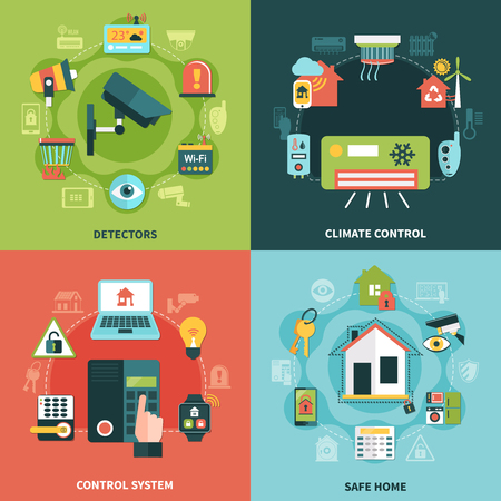 Home security flat design concept with climate control, monitoring system, detectors, safe property isolated vector illustration. Illustration