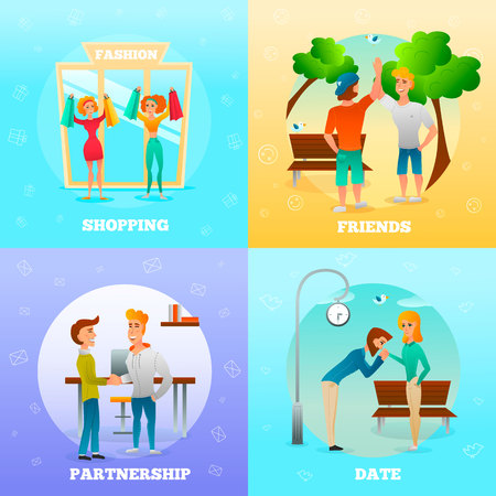 Friends partners dating couple greeting each other gestures 4 flat colorful background icons square isolated vector illustration.