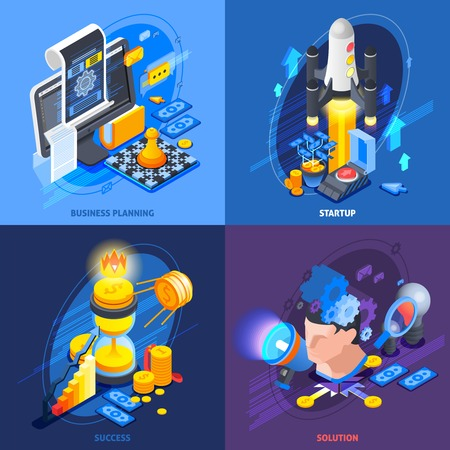 Startup entrepreneurship business plan solutions concept 4 isometric icons square with achieving success strategy isolated vector illustration.