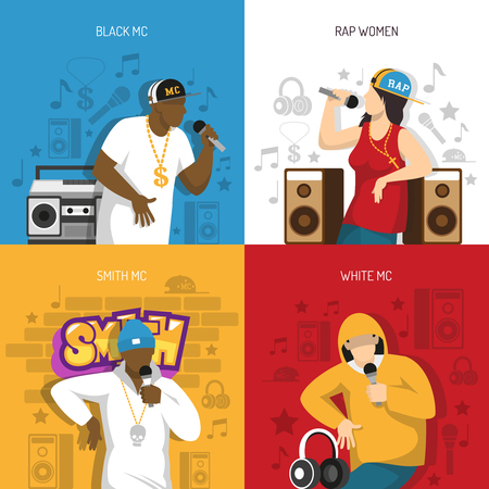 Rap music popular singers performance 4 flat colorful background icons square with black mc rapper vector illustration. 免版税图像 - 94048707