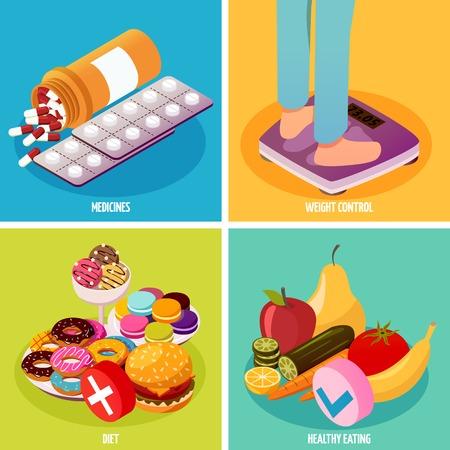 Diabetes die isometrisch ontwerpconcept met geneesmiddelen, gewichtscontrole, dieet en gezond eten geïsoleerde vectorillustratie controleren.