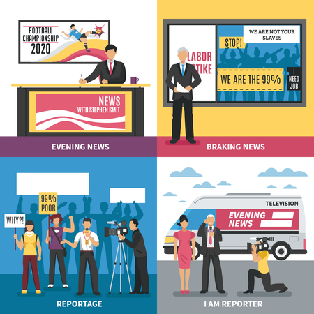 Design concept with breaking news, tv program with sport information, live report, profession journalist isolated vector illustration.