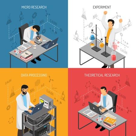 Isométrica concepto de diseño científico de laboratorio con imágenes planas de científicos con molécula de adn y las interfaces de iconos de vector ilustración . Foto de archivo - 94049015
