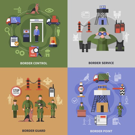 Border control point service and guard apparel 2x2 icons set isolated on colorful backgrounds flat vector illustration.