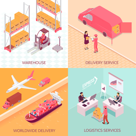 Logistics services isometric design concept with goods at warehouse, worldwide delivery, shipping to client isolated vector illustration. Illusztráció