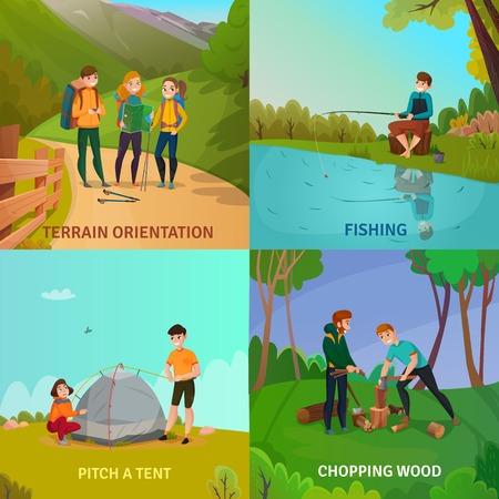 캠핑 사람들이 개념 만화 풍경 벡터 일러스트와 함께 모험 활동하는 동안 사람들과 4 광장 조성의 집합입니다.