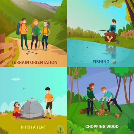 Camping people concept set of four square compositions with people during adventure activities with cartoon scenery vector illustration. Vettoriali