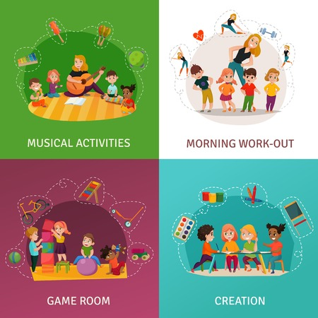 Kindergarten concept icons set with game room symbols flat isolated vector illustration.
