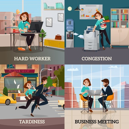 Multitasking 2x2 design concept set of business meeting hard worker congestion and tardiness flat square compositions vector illustration.