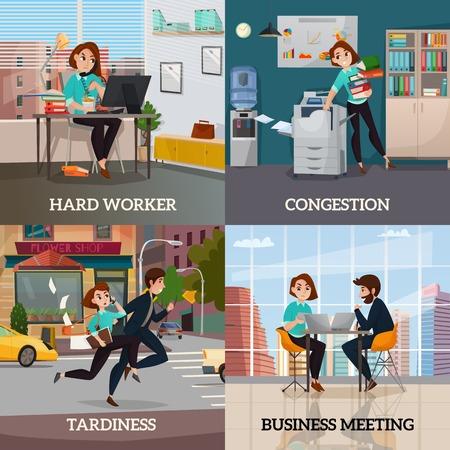 Multitasking 2x2 ontwerpconcept set van zakelijke bijeenkomst harde werker congestie en traagheid platte vierkante composities vector illustratie. Stock Illustratie