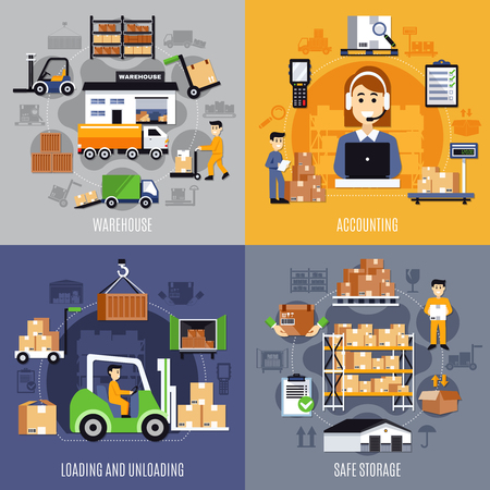Four squares warehouse flat concept set with accounting loading and unloading and safe storage descriptions vector illustration