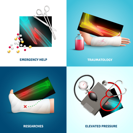 Trauma design concept with emergency medicine help, limbs fracture, researches, elevated pressure isolated vector illustration.