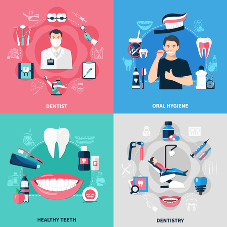Dental 2x2 design concept set of oral hygiene healthy teeth dentist and dentistry square compositions flat vector illustration.